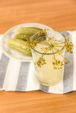 Salty brine in the glass. Pickles and spices on a plate Royalty Free Stock Photography