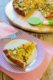 Salty cake. With corn and vegetables Stock Photos