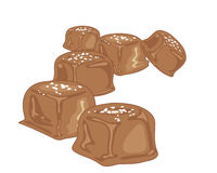 Salty caramel candy. An illustration of pieces of caramel candy with a chocolate coating and a sprinkle of sea salt on a white background Stock Photography