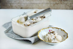 Salty caramel ice cream with shaved black truffle, homemade delicacy Royalty Free Stock Photos