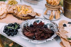 Salty and cheese bar of several kinds of cheese, grapes, olives. And snacks decorated on vintage wooden table. Wedding or other holiday party outdoors Royalty Free Stock Photo