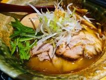 Salty clear soup pork ramen Japanese noodle stock photography