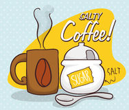 Salty Coffee Scene for April Fools' Pranks, Vector Illustration. Classic scene of salty coffee prank for April Fools' Day with a coffee mug, spoon and a fake Royalty Free Stock Photo
