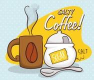 Salty Coffee Scene for April Fools' Pranks, Vector Illustration Royalty Free Stock Photo
