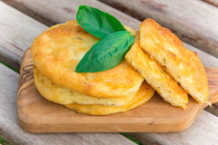 Salty cottage cheese pancakes Stock Image