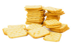 Salty cracker isolated on white Royalty Free Stock Photos