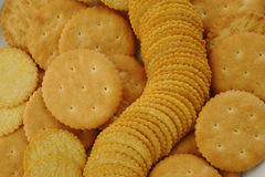 Salty crackers background Stock Images