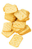 Salty crackers isolated on white Royalty Free Stock Photo