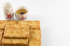 Salty Crackers with Tea Stock Photo