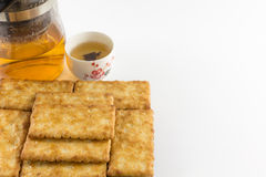 Salty Crackers with Tea Stock Image