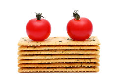 Salty crackers with tomato Royalty Free Stock Photos