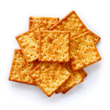Salty Crackers are on white background. Royalty Free Stock Photos
