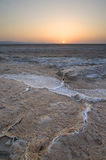 Salty cracks in a dried out lake - Chott el Djerid Stock Photo