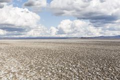 Salty Desert Dry Lake Mud Flats Stock Photo