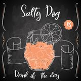 Salty Dog cocktail. Hand drawn drink on white background. Vector illustration stock illustration