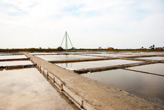 Salty evaporation ponds in Aveiro, Portugal Stock Photos