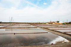 Salty evaporation ponds in Aveiro, Portugal Royalty Free Stock Photography