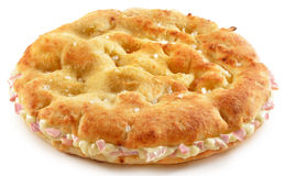 Salty Flatbread stuffed with Ham and melted Cheese Royalty Free Stock Photos