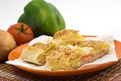 Salty ham strudel with sesame Royalty Free Stock Photography