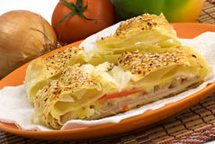 Salty ham strudel with sesame Stock Photo