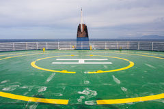 Salty helicopter pad. Salty helipad on ferry after rain Stock Photo