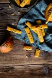 Salty Hokkaido pumpkin crackers stock images