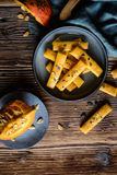 Salty Hokkaido pumpkin crackers royalty free stock photos