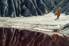 Salty lake in desert stock photography