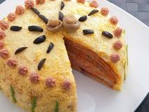 Salty pancake cake Stock Photos