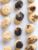 Salty party snacks in a row. royalty free stock photography