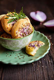 Salty pies with red onion and cumin Stock Image
