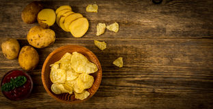 Salty potato chips Royalty Free Stock Photo
