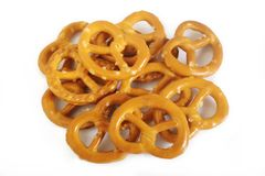 Salty pretzel. Isolated on white background Stock Photo