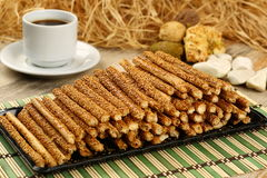 Salty pretzel sticks Stock Image
