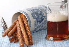 Salty Pretzels and Beer Royalty Free Stock Images