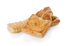 Salty puff pastry. Croissant with ham and cheese and other salty puff pastry Royalty Free Stock Photos