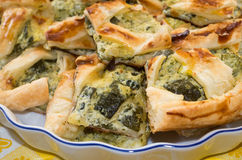 Salty puff pastry pizza with zucchini and cream Royalty Free Stock Photo