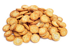 Salty round crackers Stock Images