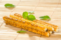 Salty sesame sticks Stock Images