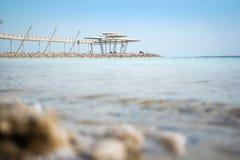 Salty Shore and Dead Sea Promenade, Israel Stock Images