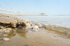 Salty Shore and Dead Sea Promenade, Israel Royalty Free Stock Images