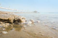 Salty Shore and Dead Sea Promenade, Israel Royalty Free Stock Image