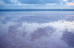 Salty shore of the Laguna Salada de Torrevieja, Spain. Stock Photo