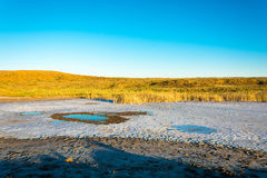 The salty shore of the lake Baskunchak. Stock Images