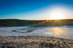 The salty shore of the lake Baskunchak. Stock Photo