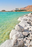 Salty shores on Dead Sea in Israel. Vertical oriented image of salt formations on the shores of Dead Sea and touristic resorts on background in Israel Stock Image