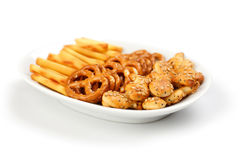 Salty snacks Royalty Free Stock Photos