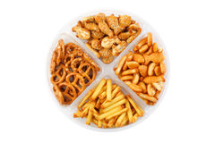 Salty snacks. The photo shot of the salty snacks Royalty Free Stock Photography