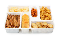 Salty snacks in box Stock Photo