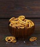 Salty snacks mini pretzels with salt Stock Photography